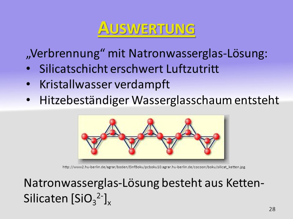 """Auswertung """"Verbrennung mit Natronwasserglas-Lösung:"""