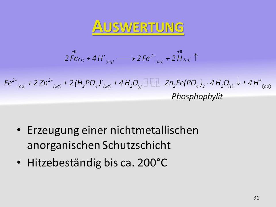 Auswertung Phosphophylit. Erzeugung einer nichtmetallischen anorganischen Schutzschicht.