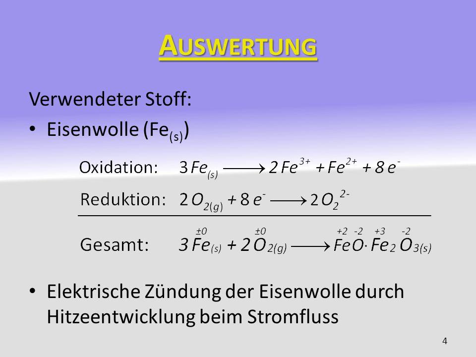 Auswertung Verwendeter Stoff: Eisenwolle (Fe(s))