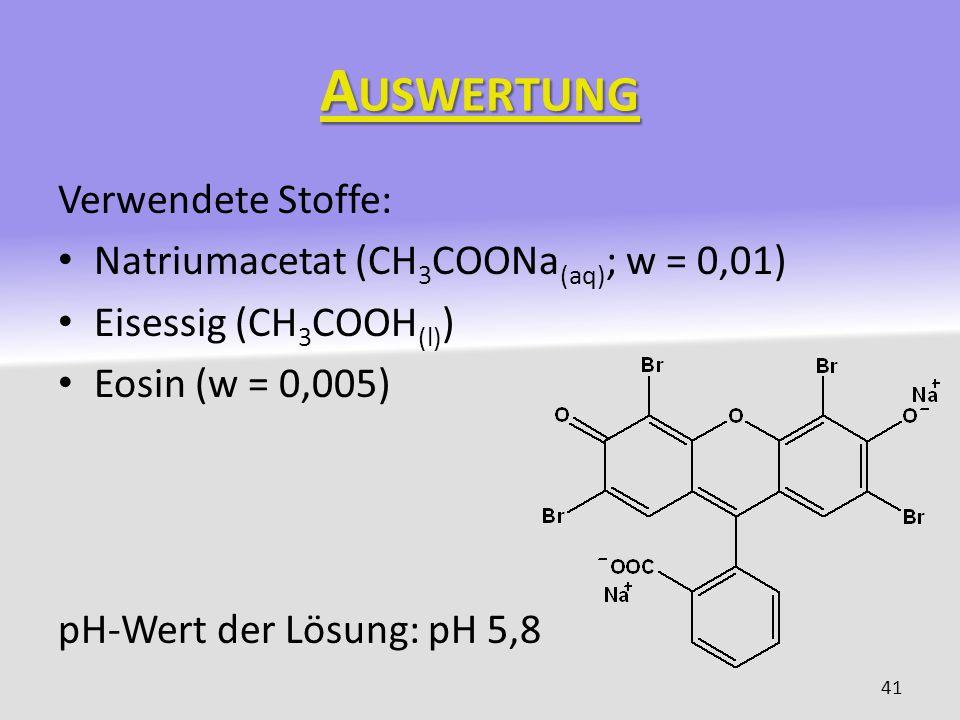 Auswertung Verwendete Stoffe: Natriumacetat (CH3COONa(aq); w = 0,01)
