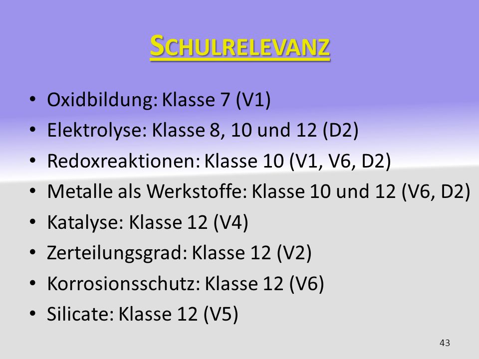 Schulrelevanz Oxidbildung: Klasse 7 (V1)
