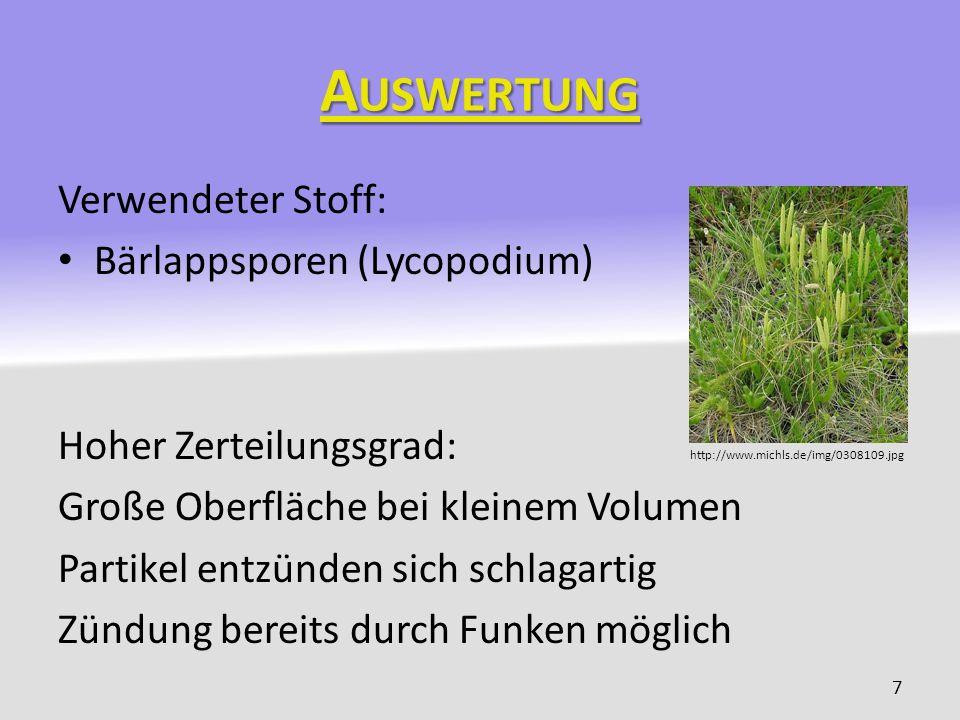 Auswertung Verwendeter Stoff: Bärlappsporen (Lycopodium)
