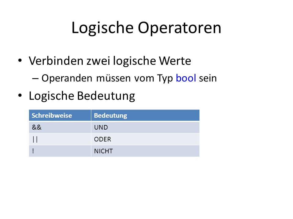 Logische Operatoren Verbinden zwei logische Werte Logische Bedeutung
