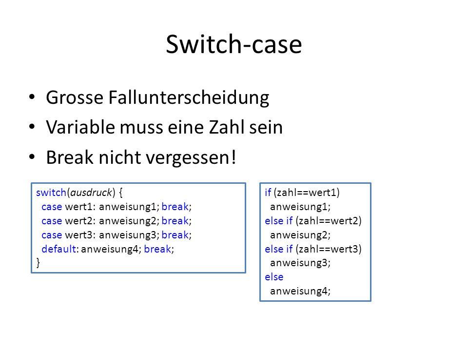 Switch-case Grosse Fallunterscheidung Variable muss eine Zahl sein