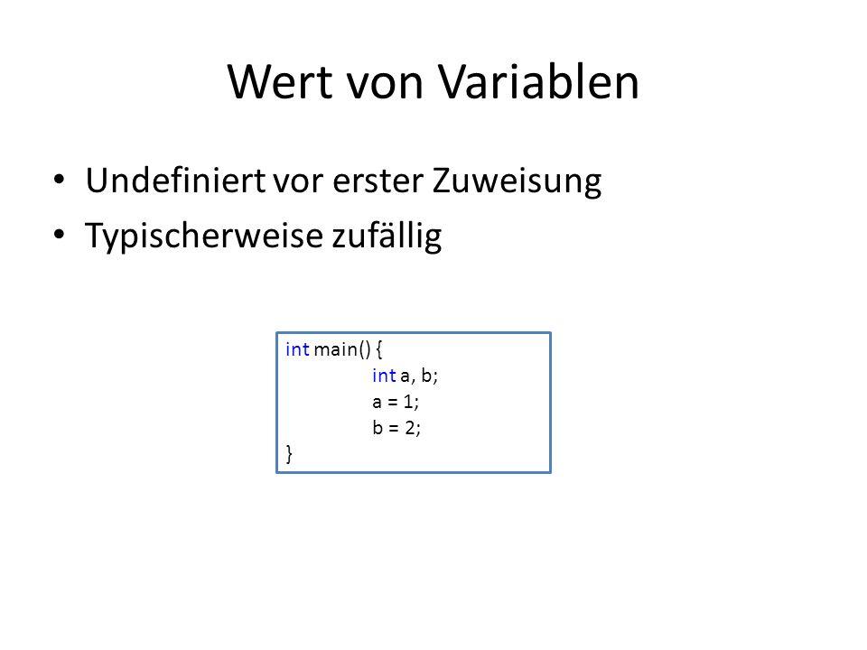 Wert von Variablen Undefiniert vor erster Zuweisung