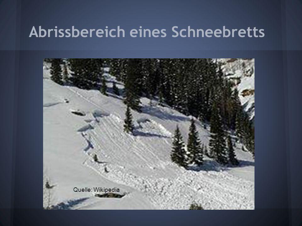 Abrissbereich eines Schneebretts