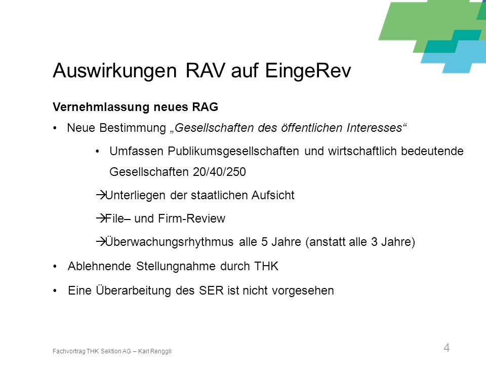 Auswirkungen RAV auf EingeRev