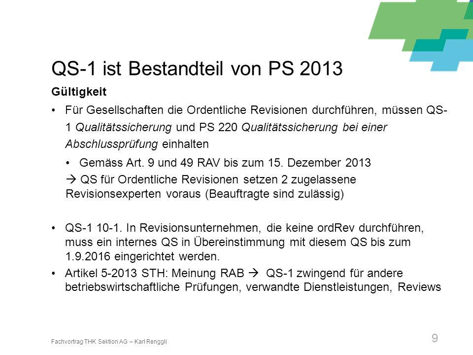 QS-1 ist Bestandteil von PS 2013