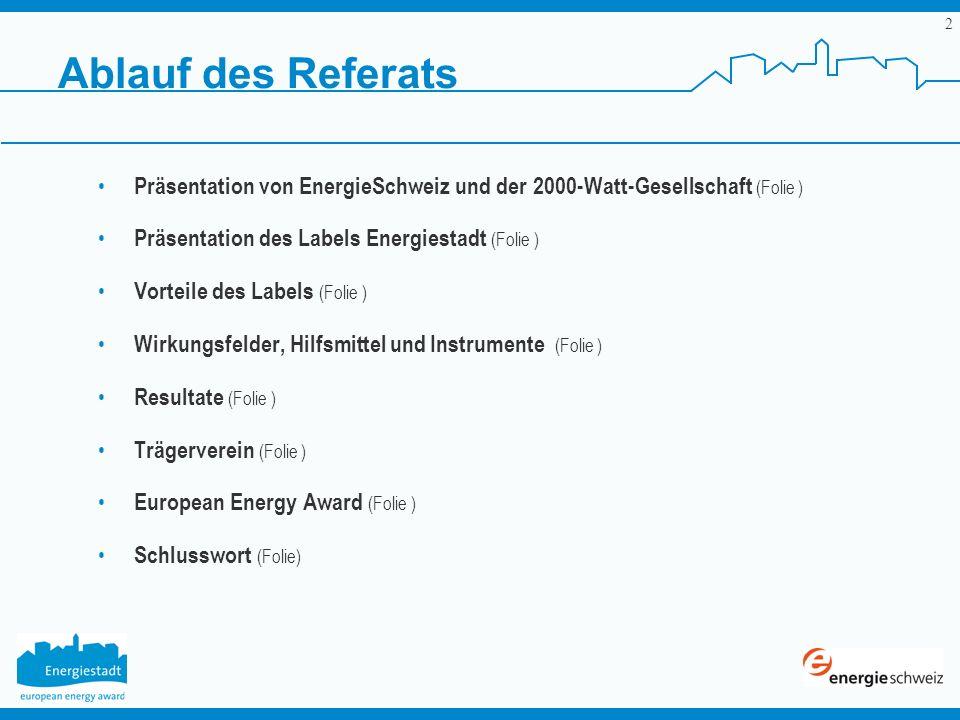 Ablauf des ReferatsPräsentation von EnergieSchweiz und der 2000-Watt-Gesellschaft (Folie ) Präsentation des Labels Energiestadt (Folie )