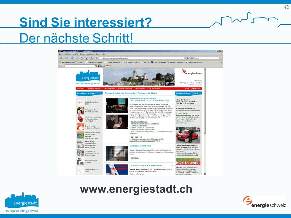 Sind Sie interessiert Der nächste Schritt! www.energiestadt.ch