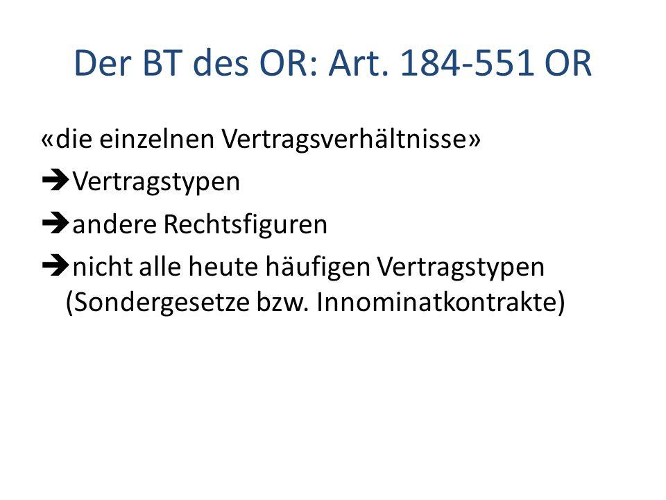 Der BT des OR: Art. 184-551 OR «die einzelnen Vertragsverhältnisse»