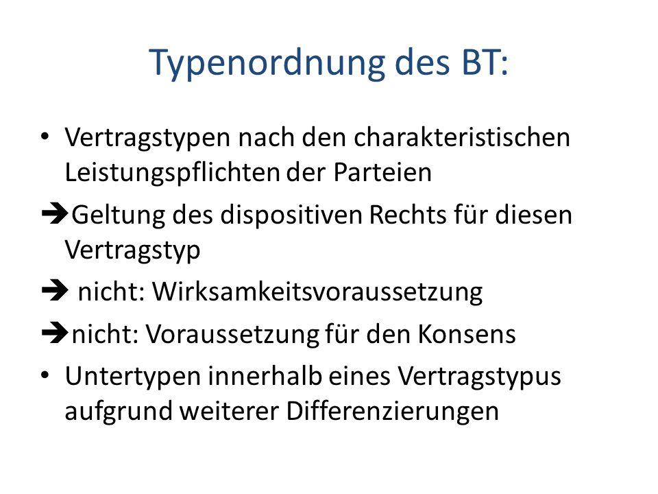 Typenordnung des BT: Vertragstypen nach den charakteristischen Leistungspflichten der Parteien.