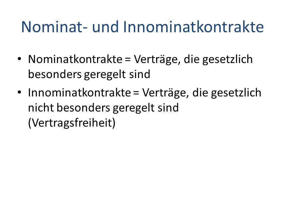Nominat- und Innominatkontrakte