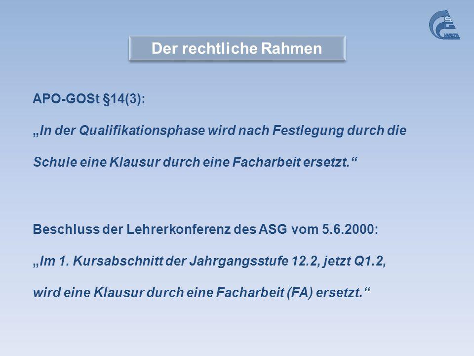 Der rechtliche Rahmen APO-GOSt §14(3):