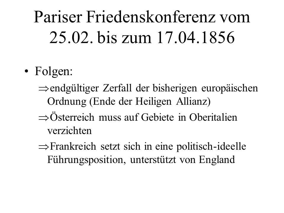 Pariser Friedenskonferenz vom 25.02. bis zum 17.04.1856