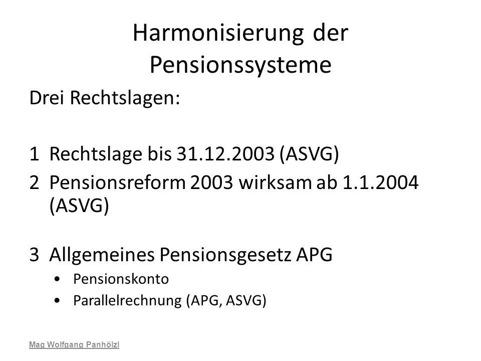 Harmonisierung der Pensionssysteme