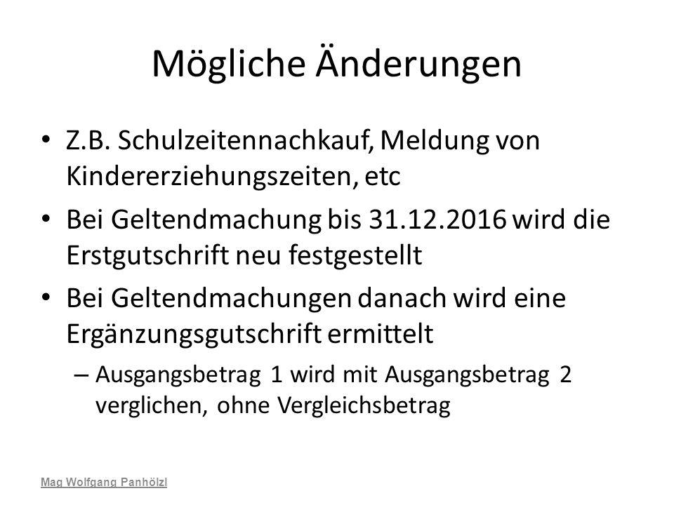 Mögliche Änderungen Z.B. Schulzeitennachkauf, Meldung von Kindererziehungszeiten, etc.