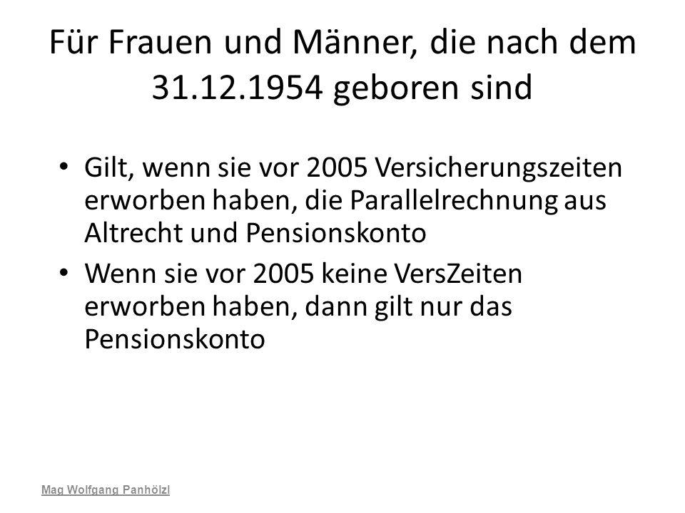 Für Frauen und Männer, die nach dem 31.12.1954 geboren sind