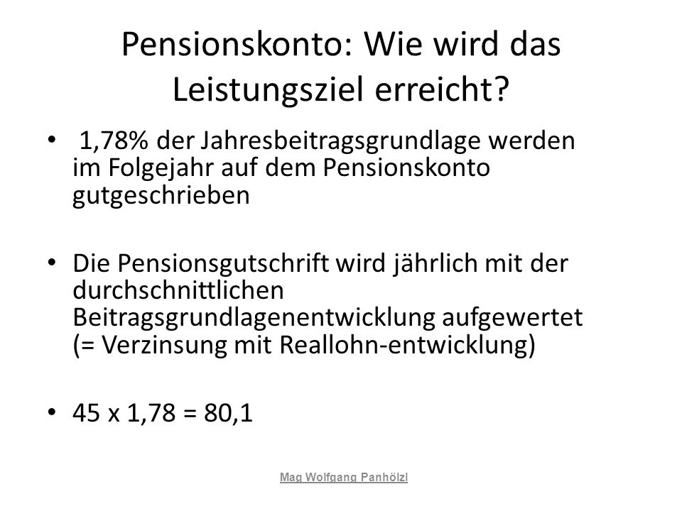 Pensionskonto: Wie wird das Leistungsziel erreicht