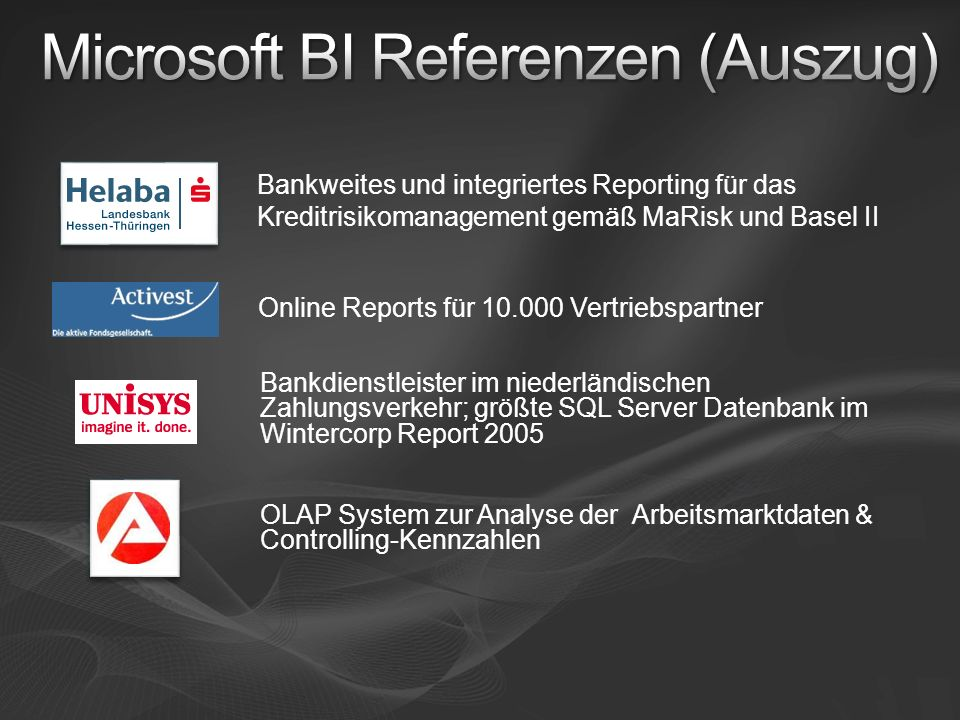 Microsoft BI Referenzen (Auszug)