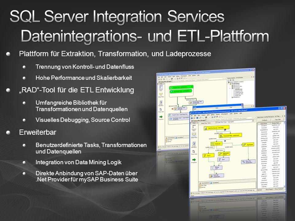 SQL Server Integration Services Datenintegrations- und ETL-Plattform