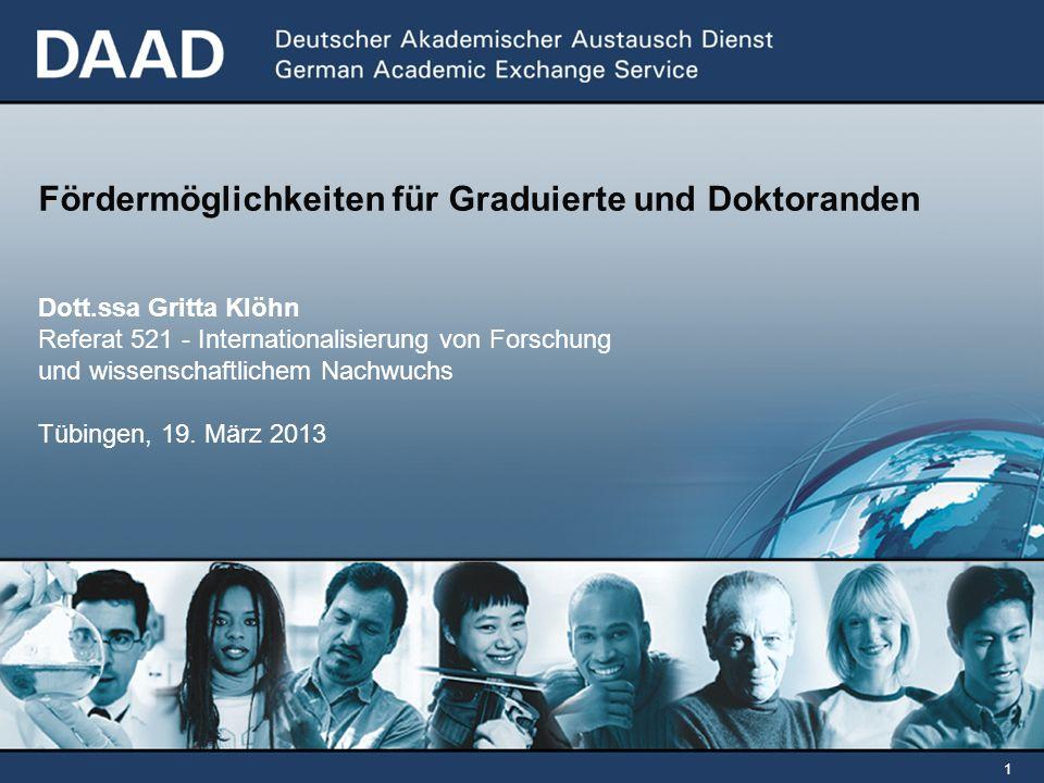 Fördermöglichkeiten für Graduierte und Doktoranden Dott