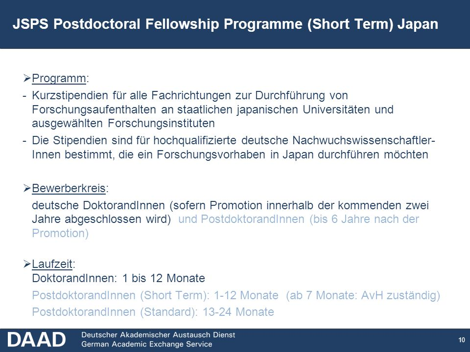 JSPS Postdoctoral Fellowship Programme (Short Term) Japan
