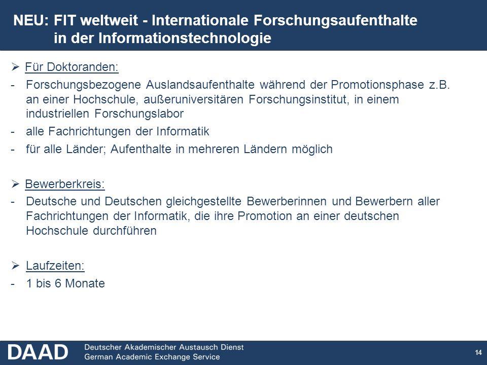 NEU: FIT weltweit - Internationale Forschungsaufenthalte
