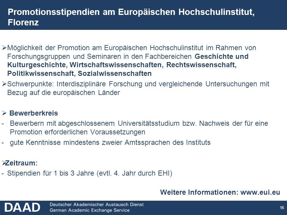 Promotionsstipendien am Europäischen Hochschulinstitut, Florenz