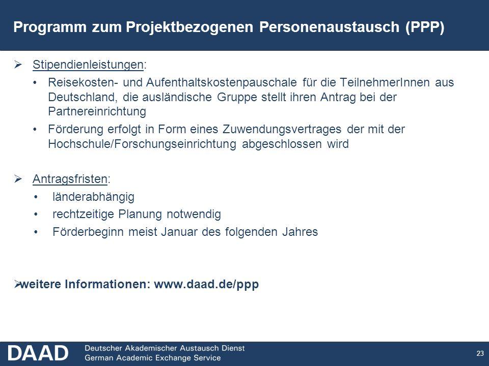 Programm zum Projektbezogenen Personenaustausch (PPP)