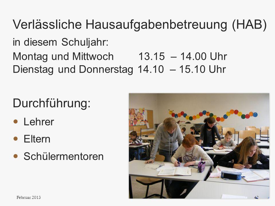 Verlässliche Hausaufgabenbetreuung (HAB) in diesem Schuljahr: