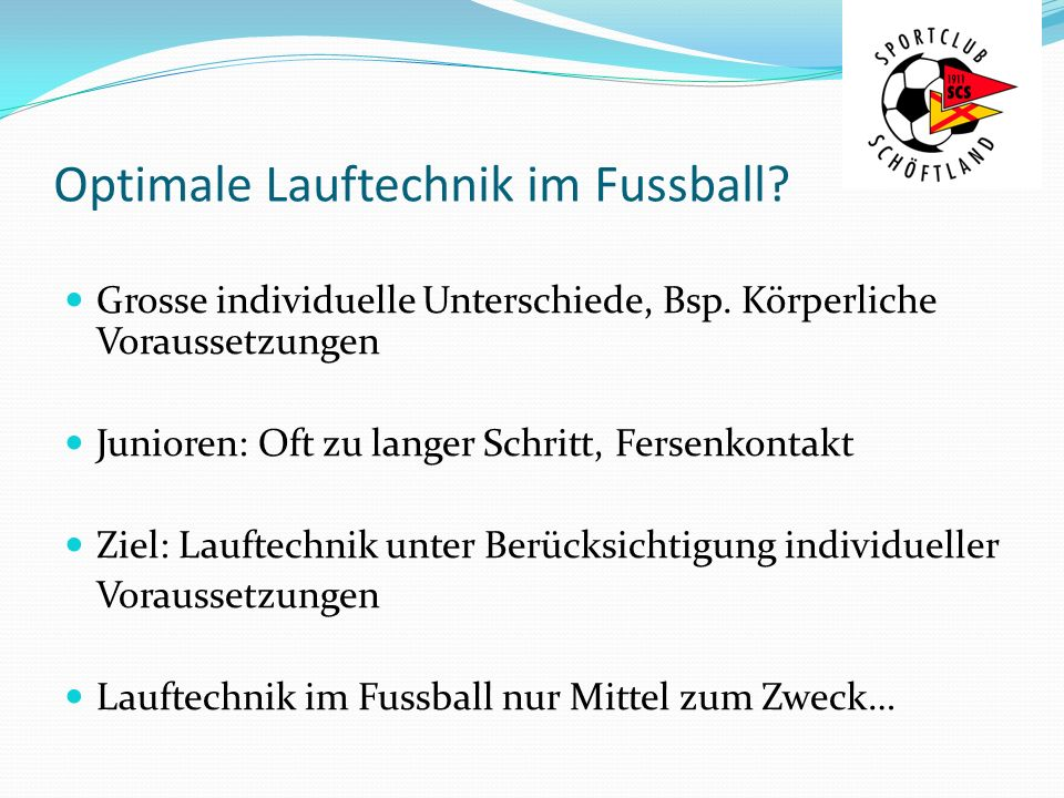 Optimale Lauftechnik im Fussball