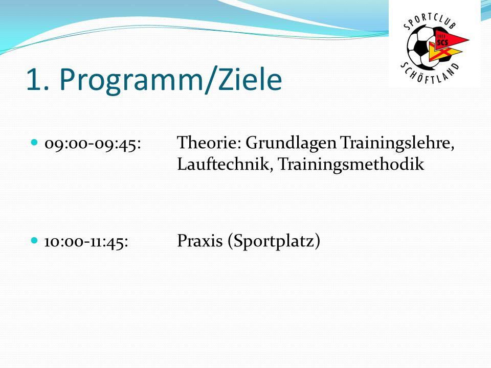 1. Programm/Ziele 09:00-09:45: Theorie: Grundlagen Trainingslehre, Lauftechnik, Trainingsmethodik.