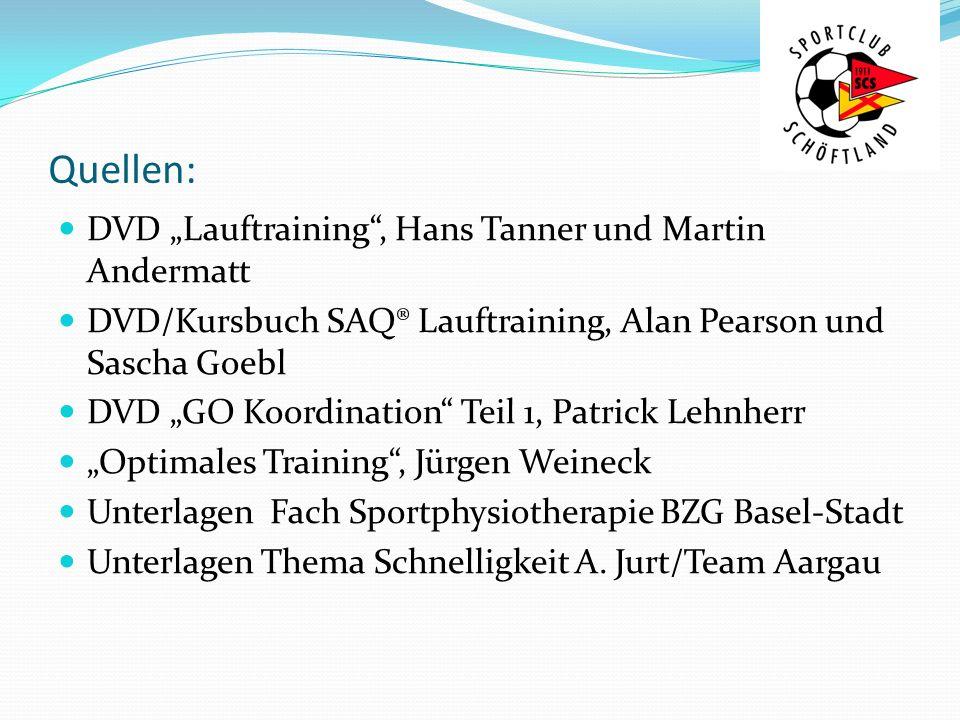"""Quellen: DVD """"Lauftraining , Hans Tanner und Martin Andermatt"""