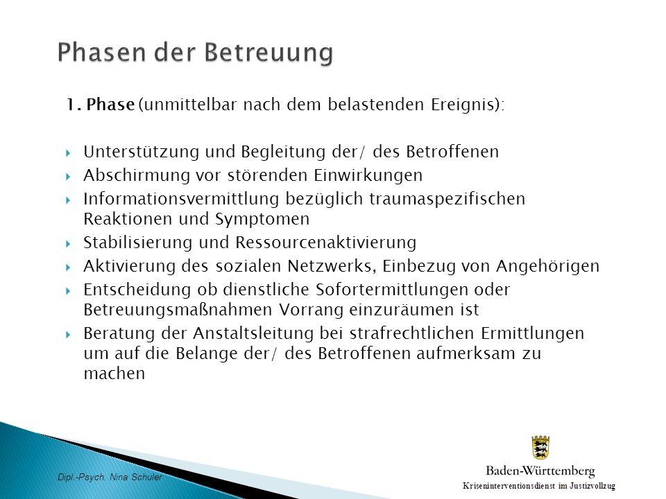 Phasen der Betreuung 1. Phase (unmittelbar nach dem belastenden Ereignis): Unterstützung und Begleitung der/ des Betroffenen.