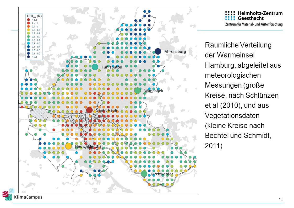 Räumliche Verteilung der Wärmeinsel Hamburg, abgeleitet aus meteorologischen Messungen (große Kreise, nach Schlünzen et al (2010), und aus Vegetationsdaten (kleine Kreise nach Bechtel und Schmidt, 2011)