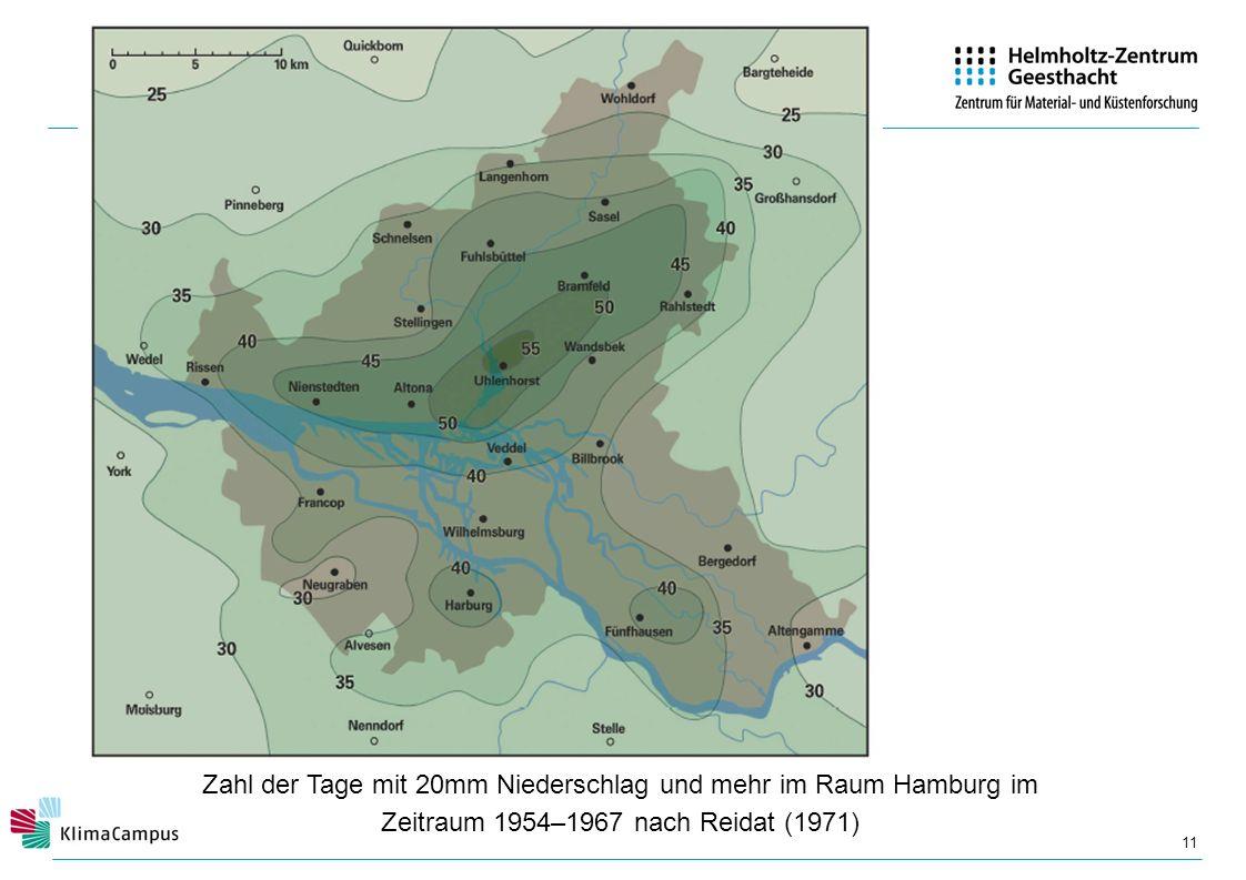 Zahl der Tage mit 20mm Niederschlag und mehr im Raum Hamburg im Zeitraum 1954–1967 nach Reidat (1971)