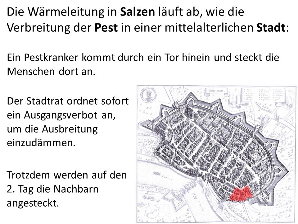 Die Wärmeleitung in Salzen läuft ab, wie die Verbreitung der Pest in einer mittelalterlichen Stadt:
