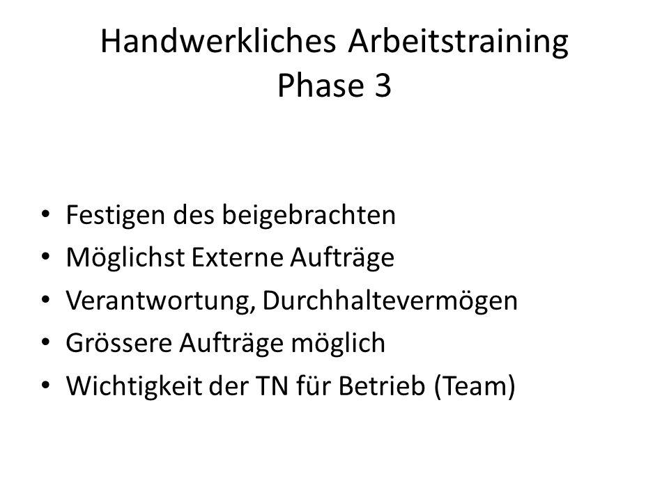 Handwerkliches Arbeitstraining Phase 3