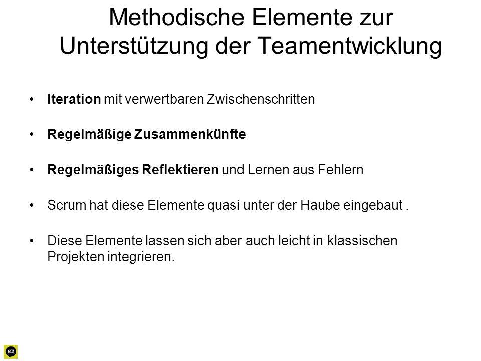 Methodische Elemente zur Unterstützung der Teamentwicklung