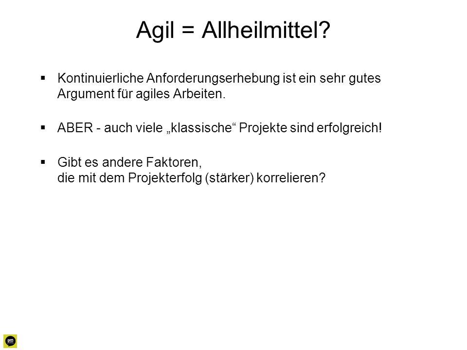 Agil = Allheilmittel Kontinuierliche Anforderungserhebung ist ein sehr gutes Argument für agiles Arbeiten.