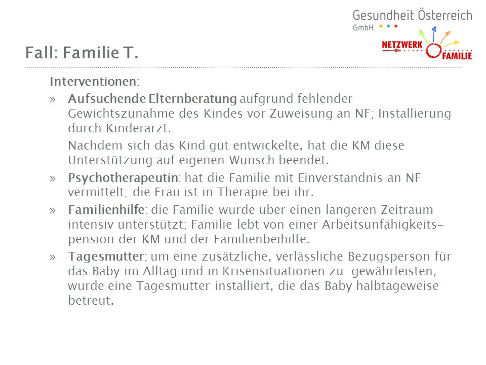 Fall: Familie T. Interventionen: