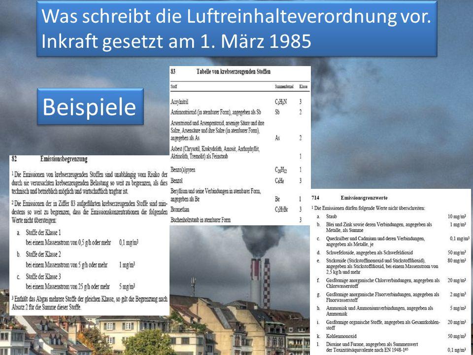 Beispiele Was schreibt die Luftreinhalteverordnung vor.