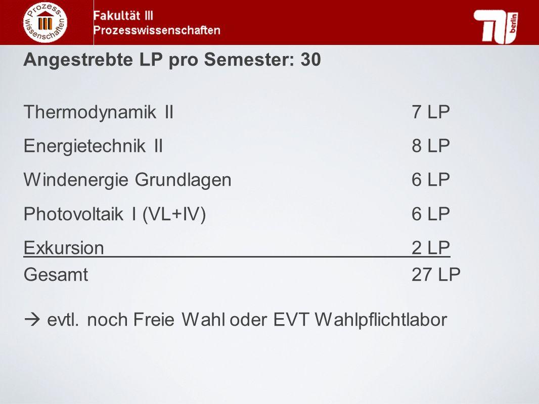Angestrebte LP pro Semester: 30 Thermodynamik II 7 LP Energietechnik II 8 LP Windenergie Grundlagen 6 LP Photovoltaik I (VL+IV) 6 LP Exkursion 2 LP Gesamt 27 LP  evtl.