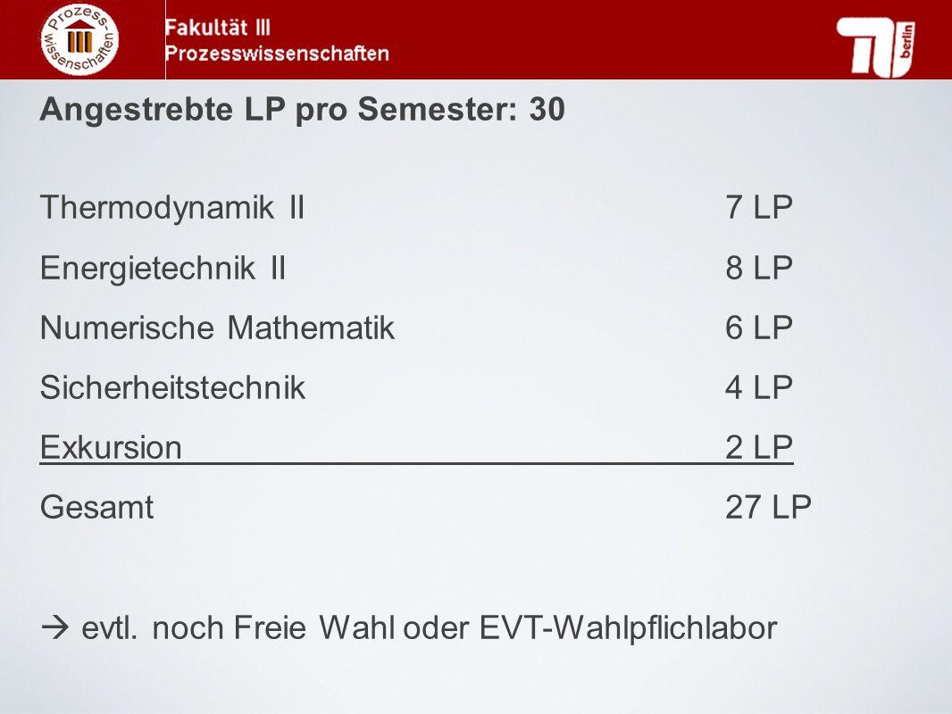 Angestrebte LP pro Semester: 30 Thermodynamik II 7 LP