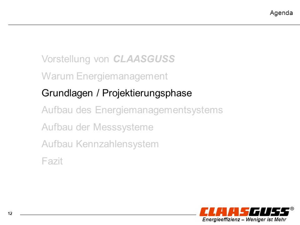Vorstellung von CLAASGUSS Warum Energiemanagement
