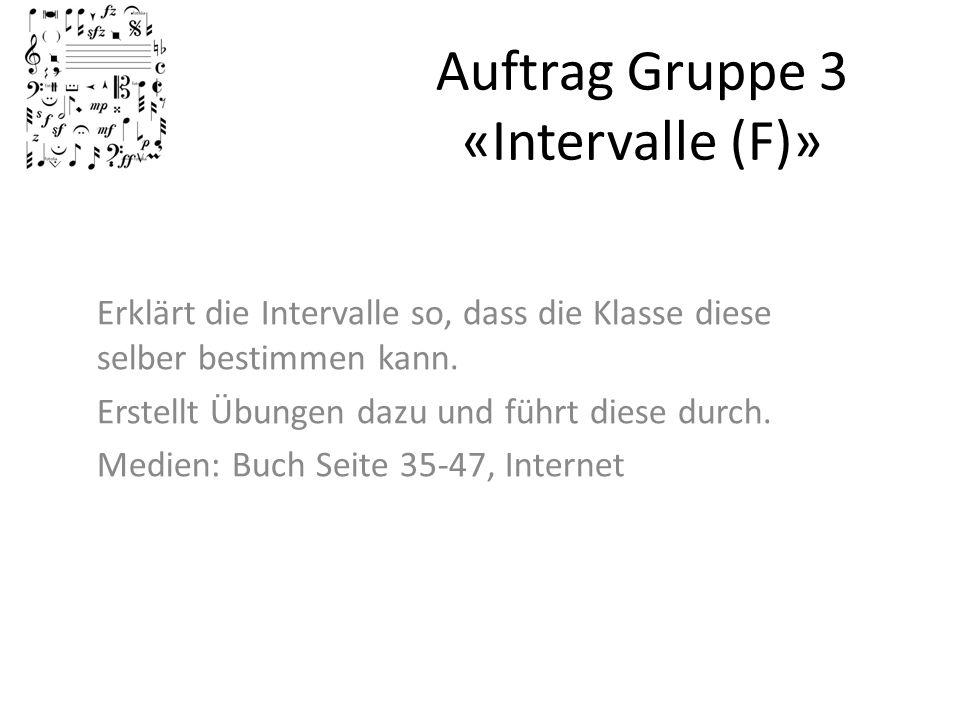 Auftrag Gruppe 3 «Intervalle (F)»