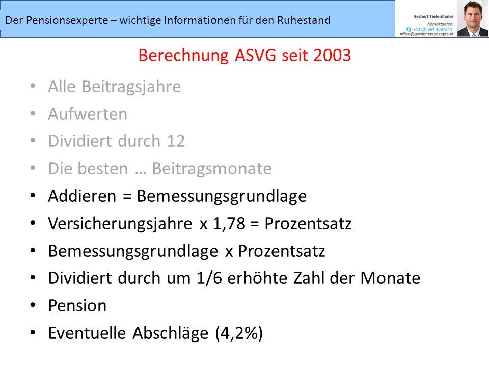 Berechnung ASVG seit 2003 Alle Beitragsjahre. Aufwerten. Dividiert durch 12. Die besten … Beitragsmonate.