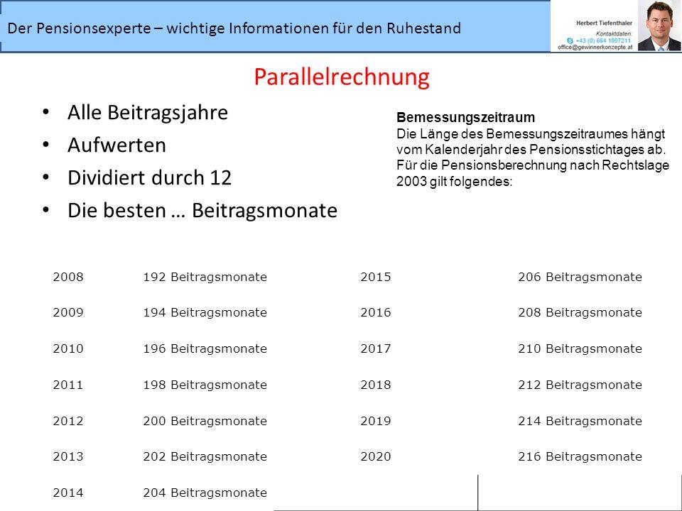 Parallelrechnung Alle Beitragsjahre Aufwerten Dividiert durch 12