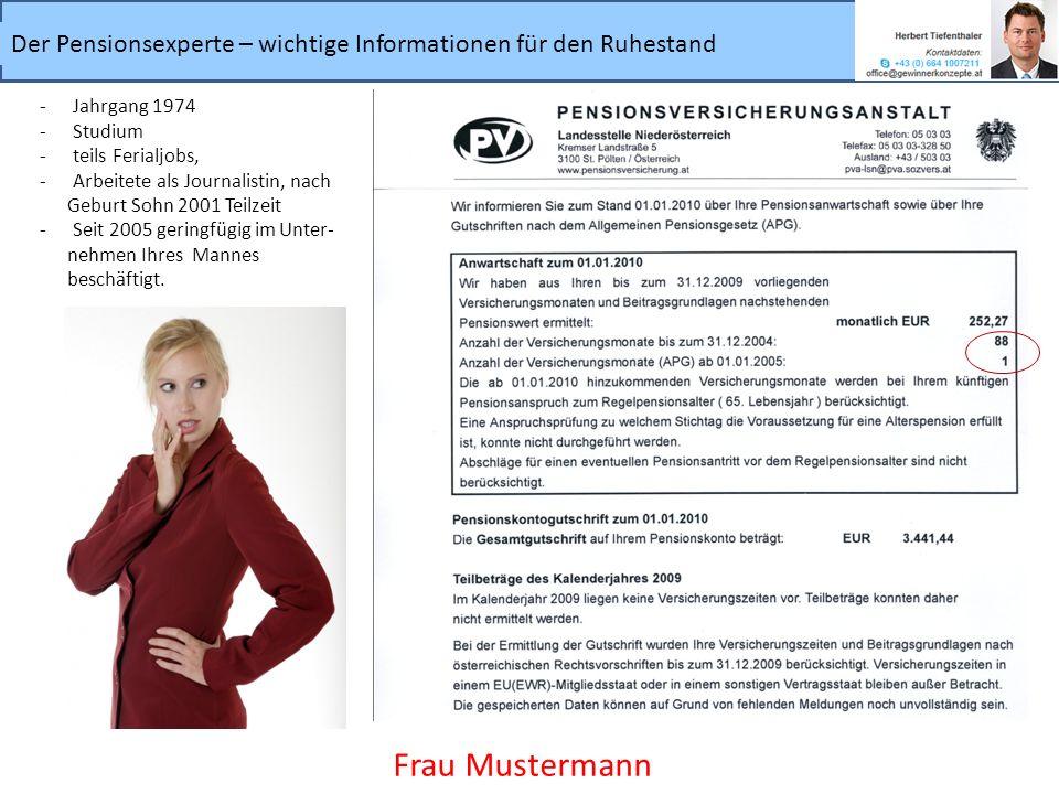 Frau Mustermann Jahrgang 1974 Studium teils Ferialjobs,